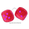 4 Inch Red Fuzzy Car Dice with Hot Pink Dots