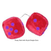 4 Inch Red Fuzzy Car Dice with Royal Purple Dots