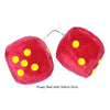 4 Inch Red Fuzzy Car Dice with Yellow Dots