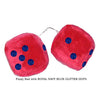 4 Inch Red Fuzzy Car Dice with ROYAL NAVY BLUE GLITTER DOTS