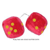 3 Inch Red Fuzzy Car Dice with GOLD GLITTER DOTS