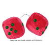 3 Inch Red Fuzzy Car Dice with DARK GREEN GLITTER DOTS