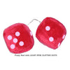 4 Inch Red Fuzzy Car Dice with LIGHT PINK GLITTER DOTS