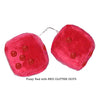 3 Inch Red Fuzzy Car Dice with RED GLITTER DOTS