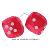 3 Inch Red Fuzzy Car Dice with SILVER GLITTER DOTS