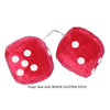 3 Inch Red Fuzzy Car Dice with WHITE GLITTER DOTS