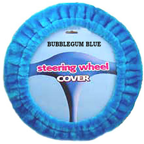 Furry Steering Wheel Cover - Bubblegum Blue