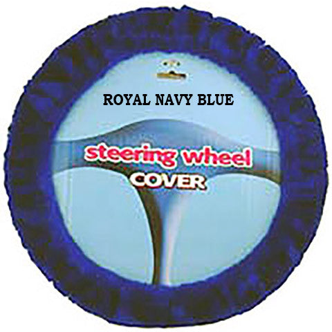 Furry Steering Wheel Cover - Royal Navy Blue