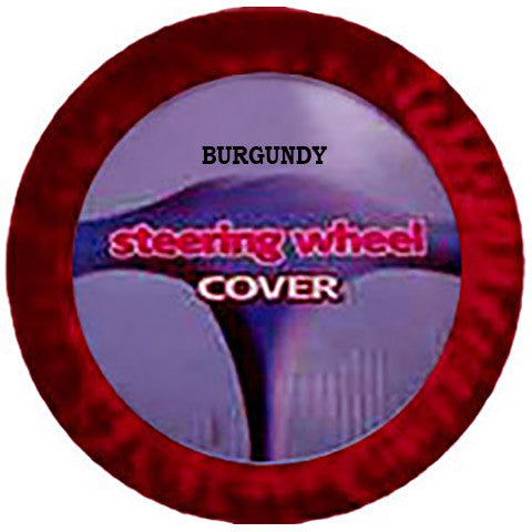 Fuzzy Steering Wheel Cover - Burgundy