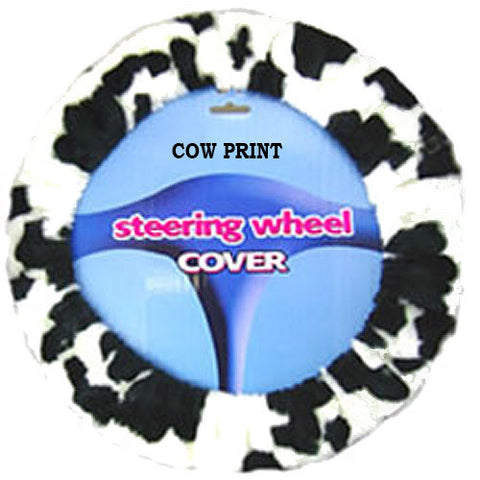 Fuzzy Steering Wheel Cover - Cow Print