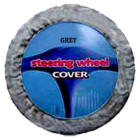 Fuzzy Steering Wheel Cover - Grey