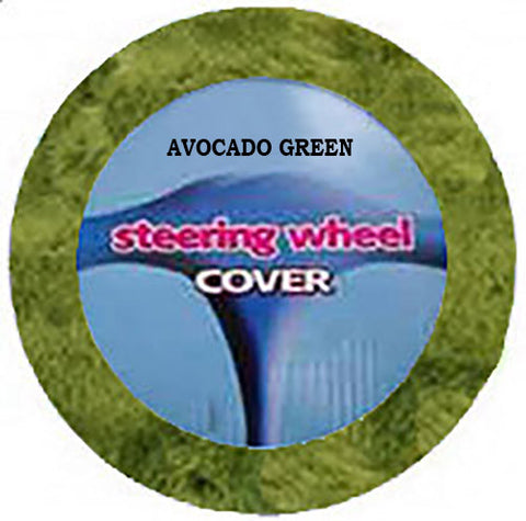 Fluffy Steering Wheel Cover - Avocado Green