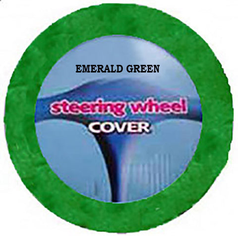Plush Steering Wheel Cover - Emerald Green