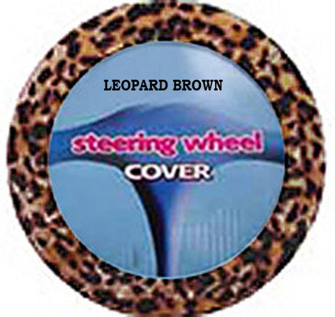 Furry Steering Wheel Cover - Leopard Brown