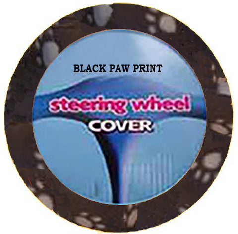 Fuzzy Steering Wheel Cover - Black Paw Print