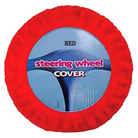 Furry Steering Wheel Cover - Red