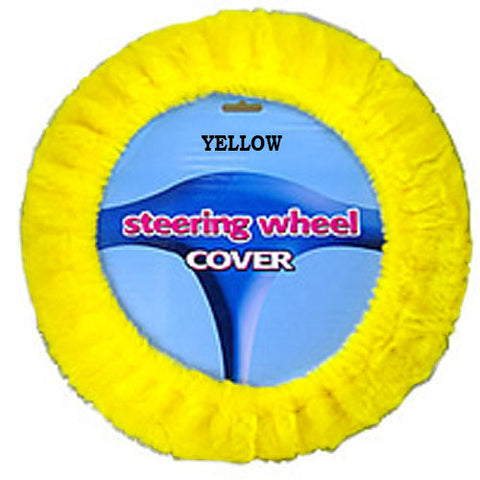 Fuzzy Steering Wheel Cover - Yellow