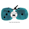 3 Inch Teal Fuzzy Dice with Black Dots