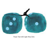 3 Inch Teal Fuzzy Dice with Light Blue Dots