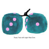 3 Inch Teal Fuzzy Dice with Light Pink Dots