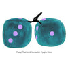 3 Inch Teal Fuzzy Dice with Lavender Purple Dots