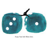 3 Inch Teal Fuzzy Dice with White Dots