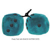 3 Inch Teal Fuzzy Dice with BLACK GLITTER DOTS