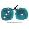 3 Inch Teal Fuzzy Dice with WHITE GLITTER DOTS