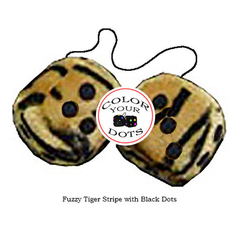 4 Inch Tiger Fuzzy Dice with Black Dots
