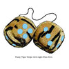 3 Inch Tiger Fuzzy Dice with Light Blue Dots