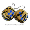 4 Inch Tiger Fuzzy Dice with Royal Navy Blue Dots