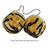 3 Inch Tiger Fuzzy Dice with Light Brown Dots