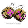 3 Inch Tiger Fuzzy Dice with Hot Pink Dots