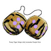 3 Inch Tiger Fuzzy Dice with Lavender Purple Dots