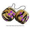 4 Inch Tiger Fuzzy Dice with Royal Purple Dots