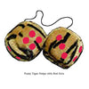 3 Inch Tiger Fuzzy Dice with Red Dots
