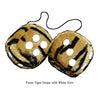 3 Inch Tiger Fuzzy Dice with White Dots