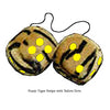 4 Inch Tiger Fuzzy Dice with Yellow Dots