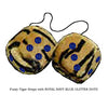 3 Inch Tiger Fuzzy Dice with ROYAL NAVY BLUE GLITTER DOTS