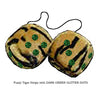4 Inch Tiger Fluffy Dice with DARK GREEN GLITTER DOTS