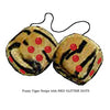 4 Inch Tiger Fluffy Dice with RED GLITTER DOTS