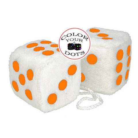 3 Inch White Fuzzy Car Dice