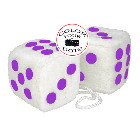 4 Inch White Fuzzy Car Dice