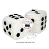 4 Inch White Fuzzy Car Dice with Black Dots