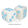 3 Inch White Fuzzy Car Dice with Light Blue Dots
