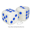 3 Inch White Fuzzy Car Dice with Royal Navy Blue Dots