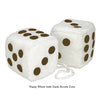 4 Inch White Fuzzy Car Dice with Dark Brown Dots