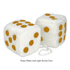 3 Inch White Fuzzy Car Dice with Light Brown Dots