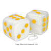 3 Inch White Fuzzy Car Dice with Goldenrod Dots