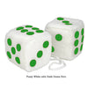 4 Inch White Fuzzy Car Dice with Dark Green Dots